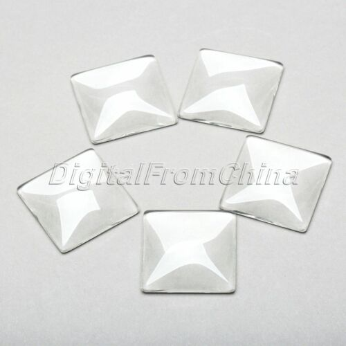 Square Clair Transparent Glass Cabochon Dome Flat Back Crystal Amplifier base Cove