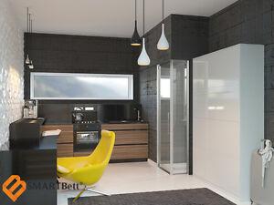 schrankbett murphy bed klappbett smartbett 160x200 wei hochglanz gasdruckfedern. Black Bedroom Furniture Sets. Home Design Ideas