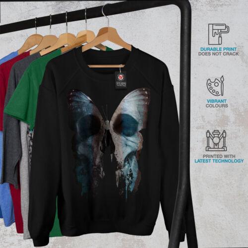 Wellcoda Butterfly Skull Face Womens Sweatshirt Bone Casual Pullover Jumper