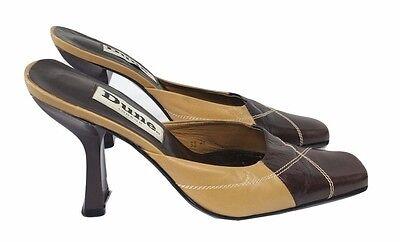 Duna Zapatos Tribunal Zapatos Talla 5 Cuero Beige y Marrón Diseñador Oficina de noche