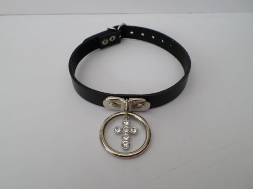 black leather fetish bondage gothic choker collar 16mm wide 30mm ring and cross