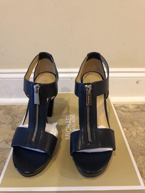 NIB Michael Kors Berkley T-Strap Platform Sandals Admiral Size 8
