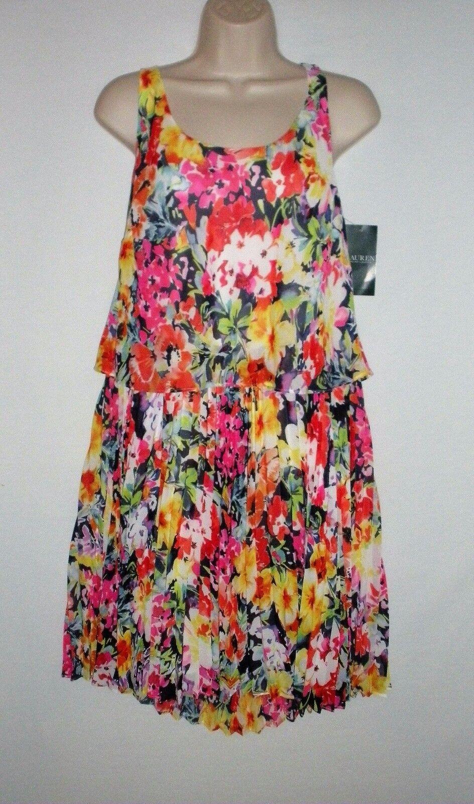 MSRP  - NWT LAUREN RALPH LAUREN Floral Pleated Sundress, Multi-Farbe
