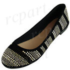 New women's shoes ballet flat ballerina gold studs comfort casual black