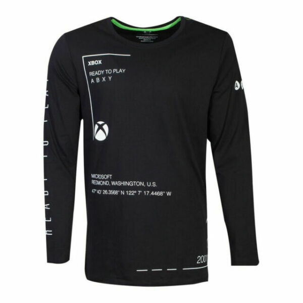 Xbox T Shirt Ready To Play Classic Logo new Official Mens Black Long Sleeve Size