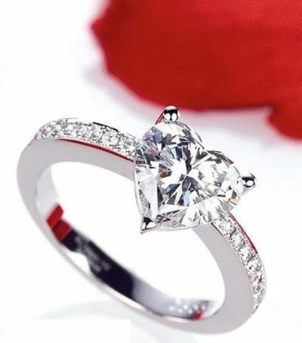 Certified 2ct Heart Cut Moissanite Pure 10K White gold Women's Engagement Ring