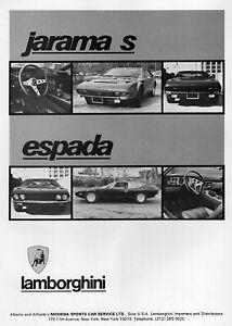 1973 Lamborghini Jarama S & Espada Original Ad