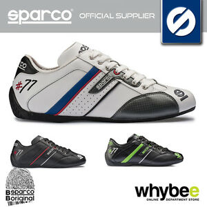 NEW SPARCO RACING 'TIME 77' 100% LEATHER PADDOCK SHOES TRAINERS - IN 3 COLOURS!