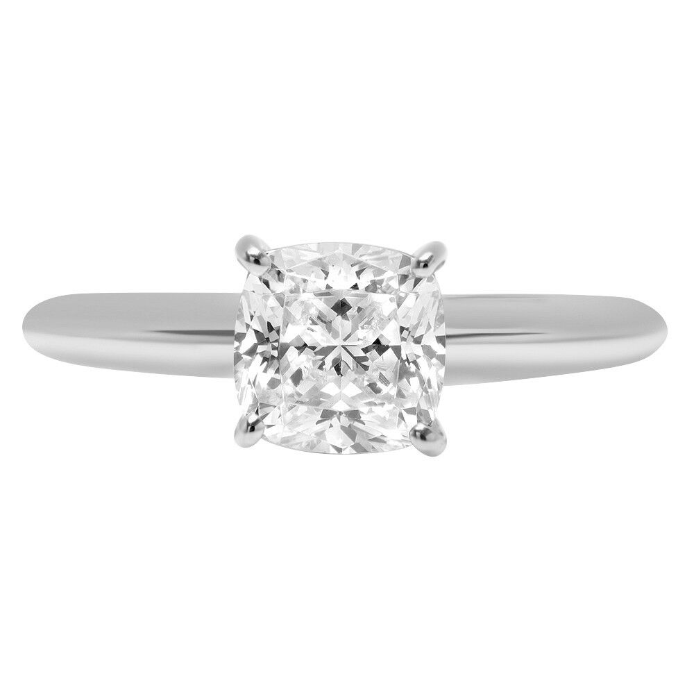 2.2ct Cushion Cut Designer Bridal Engagement Promise Ring Solid 14k White gold