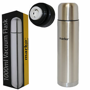 STEEL TRAVEL MUG INSULATED TEA COFFEE CUP THERMAL FLASK COLD//HOT DRINK EW01369