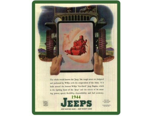 Tool Box Magnet Man Cave Item 1944 Willys Jeep Military  Ad Refrigerator