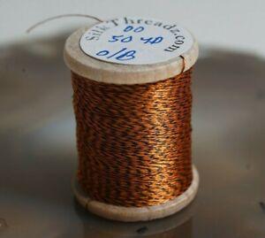 Vintage-Orange-amp-Black-Jasper-Silk-Thread-Spool-for-Bamboo-Fly-Rods-50-Yds-Size-00