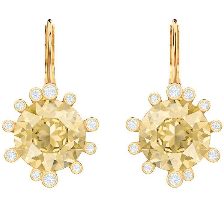 Swarovski 5460986 Olive Yellow gold Plated Drop Pierced Earrings RRP 119