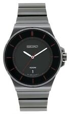 New Seiko Quartz Men's Watch with Black Metal Bracelet and Black Dial