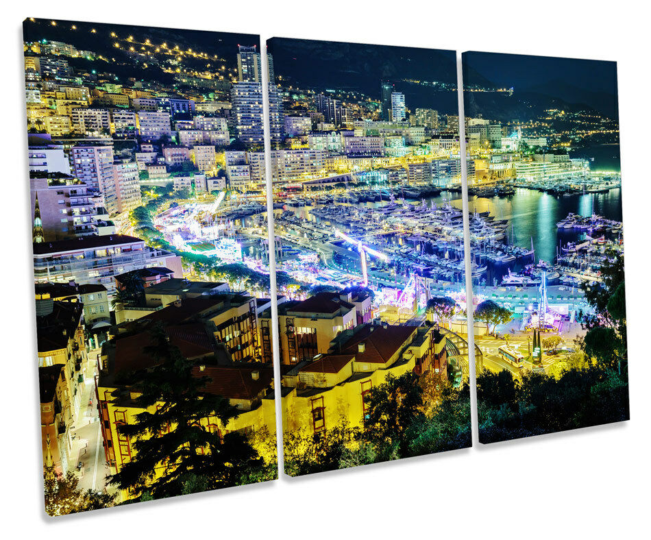 City of Nice France Skyline TREBLE CANVAS WALL ART Box Framed Print