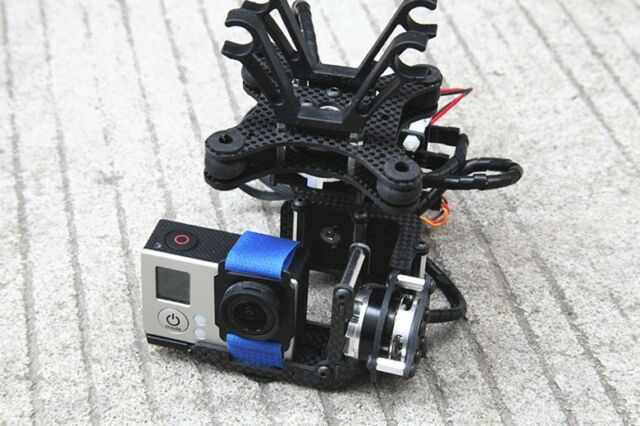 3 Axis Gopro Carbon AlexMos Brushless Gimbal Camera Mount w/Motor & Controller e