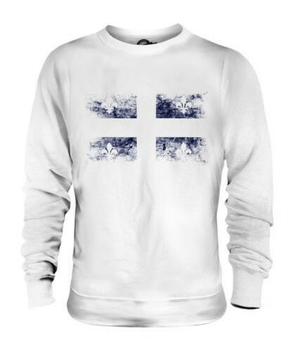 QUEBEC DISTRESSED FLAG UNISEX SWEATER TOP GIFT SHIRT CLOTHING JERSEY