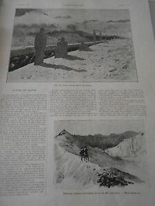 CoopéRative Gravure 1896 Alpins Et Alpini Tir Sur Silhouettes Dans Les Alpes BéNéFique Au Sperme
