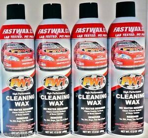 4 cans fw1 fastwax waterless wash and car wax removes dirt adds
