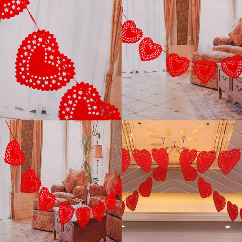 3m Heart Nonwovens Fabric Flag Party Garland Decor Banner Bunting  Wedding/&Red