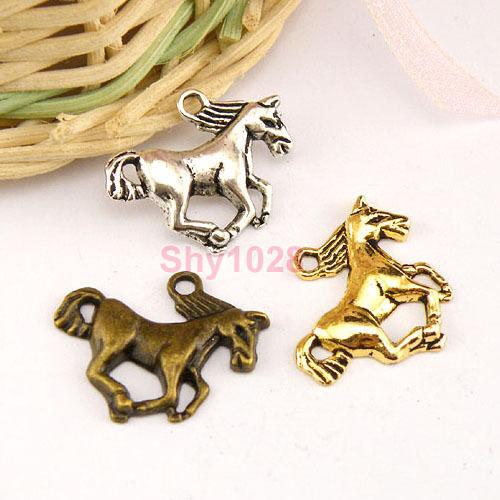 10Pcs Tibetan Silver,Antiqued Gold,Bronze Animal Horse Charm Pendants M1451
