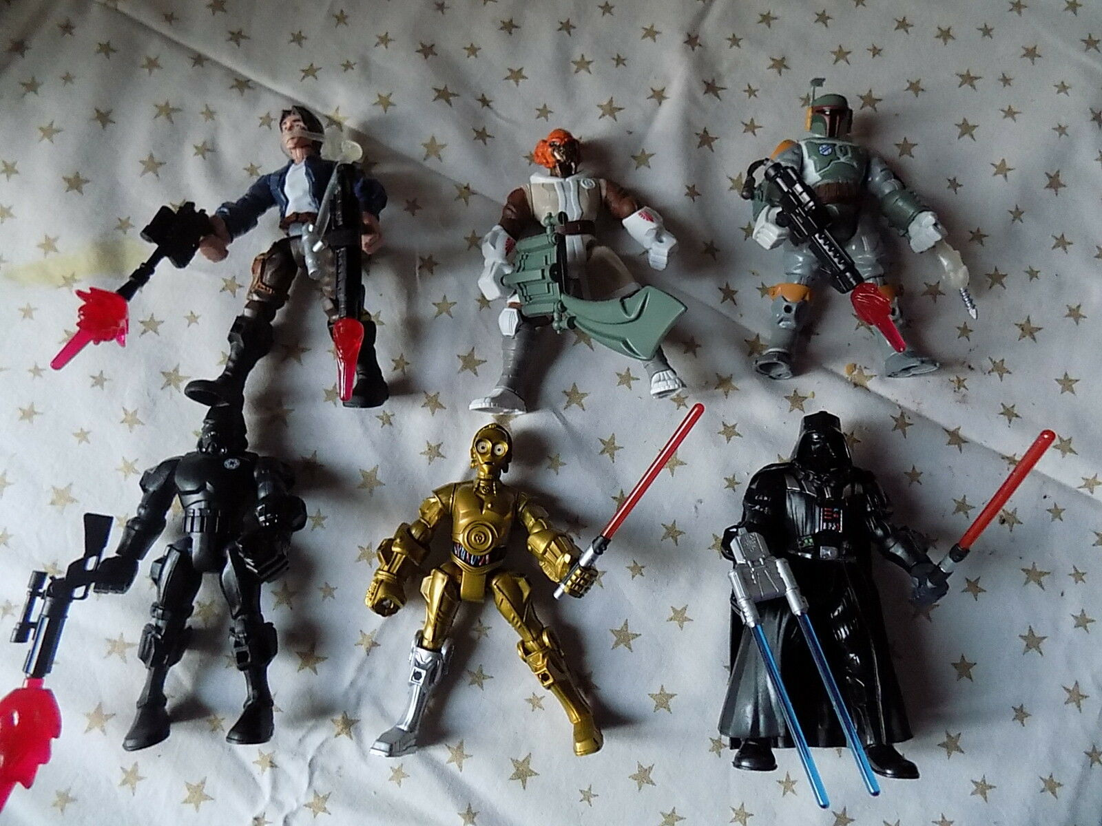 STAR WARS Collection Complète de SEPT figurines STAR WARS + 13 accessoires NEUFS