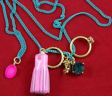 MINT! JUICY COUTURE $58 Blue Chain NECKLACE 5 Charms PINK TASSEL KNIGHT RING GEM