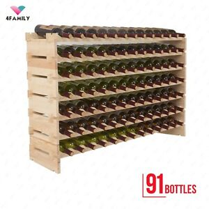 Image Is Loading 91 Bottles Holder Wood Wine Rack Stackable Storage