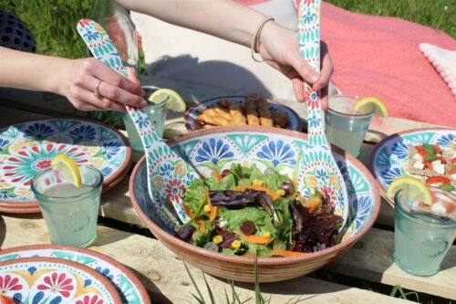Epicurean Rio médaillon Extérieur//barbecue//pique-mélamine Salade Serving SET /& BAC