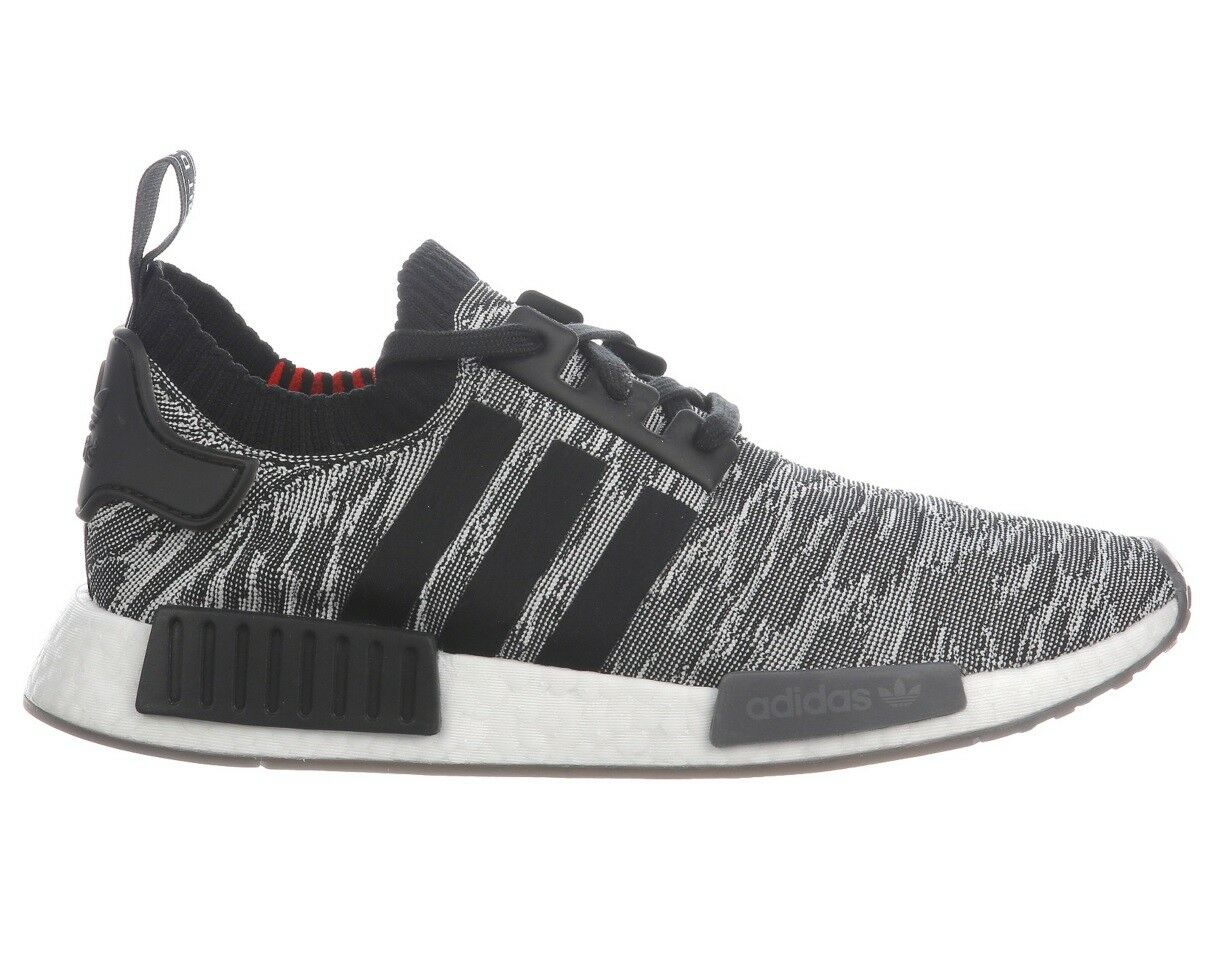Adidas NMD R1 Primeknit Mens CQ2444 Black White Red Boost Running Shoes Comfortable