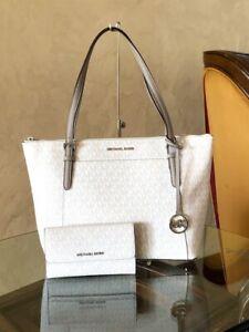 NWT-Michael-Kors-Large-Ciara-tote-handbag-leather-wallet-Bright-white-amp-grey