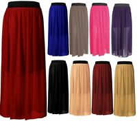 WOMEN LADIES ELASTIC WAIST BAND PLEATED CHIFFON LONG MAXI SKIRT -- UK Seller