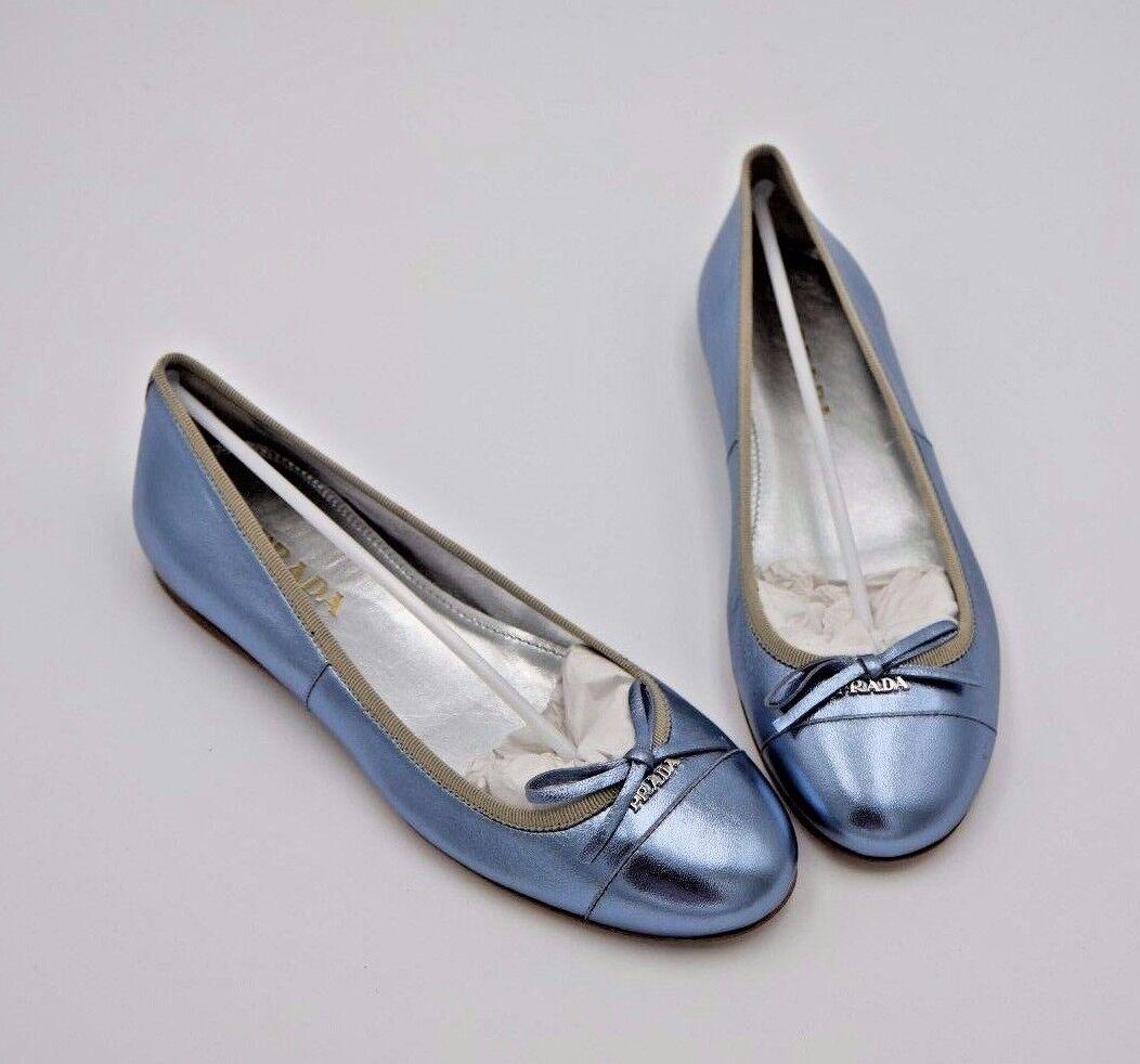 NIB Prada Blue Metallic Pelle Ballet Ballerina Bow Logo Flats 5 35 ( 550)