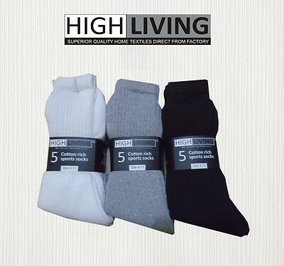 High Quality 3 Pair of Unisex Cotton Rich Sport Socks Shoe Size 6-11 White