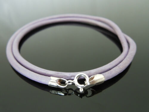 """3mm Lilac Leather 925 Sterling Silver Necklace Or Wristband 16/"""" 18/"""" 20/"""" 22/"""" 24/"""""""