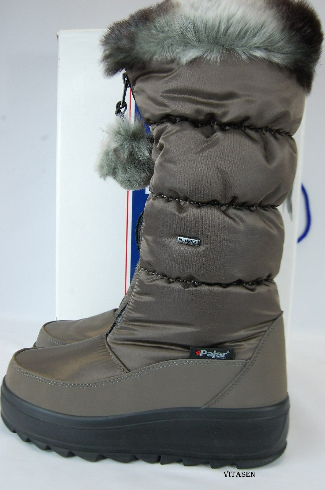 185 Pajar Canada Tobogan Womens taupe tall zippered winter boots size 10/40 NWB