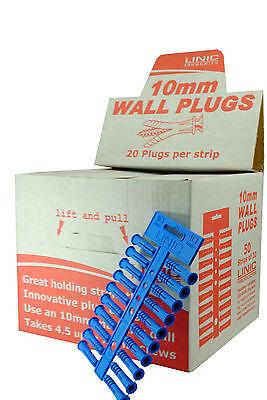 UK Made S7659 Linic 5 x Strips of 10mm Blue Fixing Masonry Plastic Wall Plugs