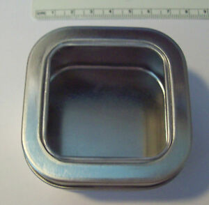 8-Silver-Gift-Tin-Box-w-window-holds-4-oz-amp-2-3-8-034-square-clear-plastic-insert