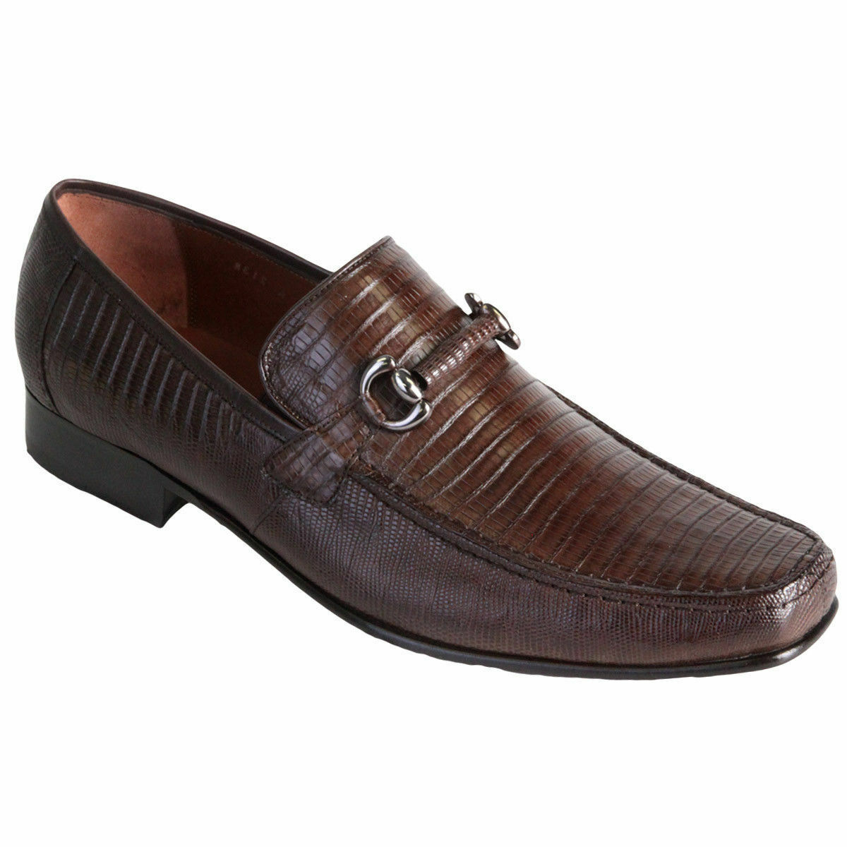 qualità di prima classe Los Altos Altos Altos Uomo Marrone Genuine Teju Lizard Dress scarpe Casual Slip On Loafer D  fantastica qualità