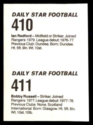 1980-81 Rangers Fútbol - 410 Ian Redford /& 411 Estrella diario Bobby Russell