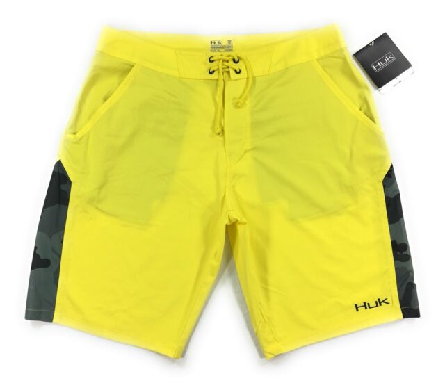 76fc765c8e33 Huk Fishing Boardshorts Mens Yellow Black Camo Quick Dry Performance Fabric