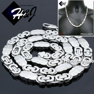 "8.5/""MEN/'s Stainless Steel 8mm Silver Flat Byzantine Box Link Chain Bracelet"
