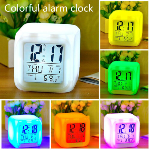 7 Color LED Change Digital Glowing Alarm Clock Night Light for Bedroom Child New