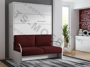 schrankbett wandbett klappbett mit sofa wbs 1 trend 160x200 cm holz weiss ebay