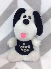 "Vintage 1979 Wallace Berry 7"" Plush Black White Puppy Dog Plush I Love You Shirt"