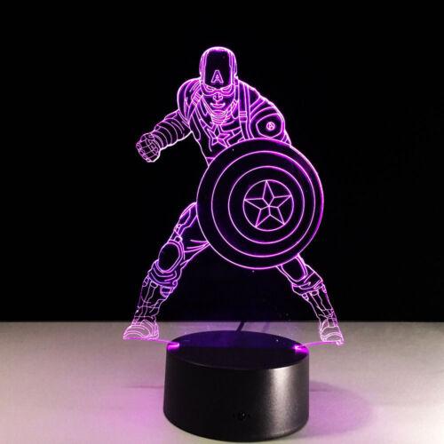 Night Light Lamp Acrylic Marvel Captain America The Avengers Christmas Gift