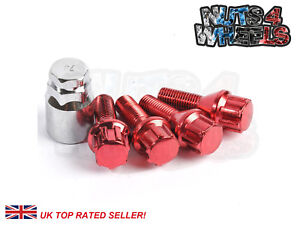4-x-Red-Locking-Wheel-Bolts-M14x1-5-fits-VW-Transporter-T5