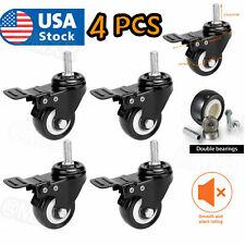 4 Pcsset 2 Inch Swivel Caster Wheels 25mm Threaded Stem With Swivel Lock
