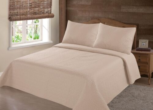 23PC TAUPE NENA BED BEDSPREAD QUILT SET COVERLET STIPPLING STITCHE IN 4 SIZES
