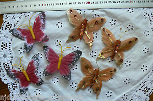 BUTTERFLIES-Fabric-Maroon-or-Gold-Glitter-amp-Sequins-9x9cm-Touch-ofNature-MultiList